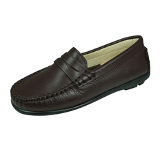 Cool Girls Hadley Leather Moccasins / Slip on Shoes - Brown