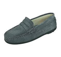 Angela Brown Hadley Kids Suede Leather Moccasins / Slip on Shoes - Grey