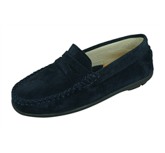 Angela Brown Hadley Kids Suede Leather Moccasins / Slip on Shoes - Navy Blue