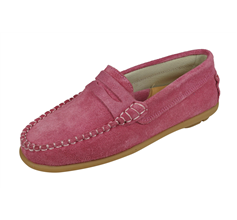 Cool Girls Hadley Suede Leather Moccasins / Slip on Shoes - Pink