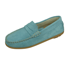 Angela Brown Hadley Kids Suede Leather Moccasins / Slip on Shoes - Powder Blue