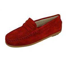 Angela Brown Hadley Kids Suede Leather Moccasins / Toddlers Slip on Shoes - Red