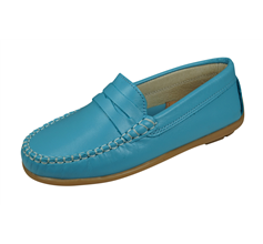 Cool Girls Hadley Leather Moccasins / Slip on Shoes - Turquoise