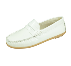 Cool Girls Hadley Patent Leather Moccasins / Slip on Shoes - White