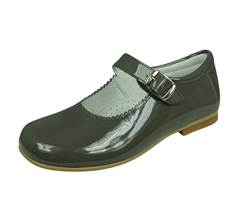 Angela Brown Hettie Toddler Girls Patent Leather School Shoes Mary Jane Dove Grey