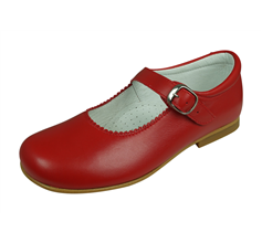 Angela Brown Hettie Toddler Girls Leather School Shoes Mary Jane Red