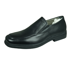 Geox J Federico N Kids Leather Slip on School Shoes - Black