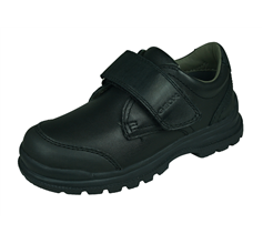 Geox J William D Boys Leather School Shoes / Hook and Loop  - Black