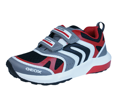 Geox Trainers J Asteroid B Boys Shoes - Grey Red