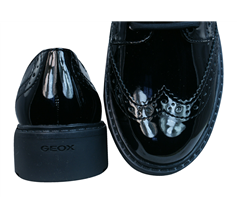 Geox J Casey G Girls Patent Leather Lace Up Shoes / Brogues - Black