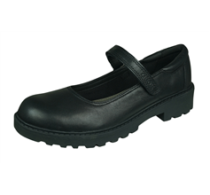 Geox J Casey G.P. Girls Leather School Shoes - Black