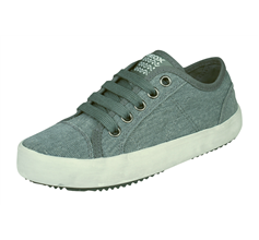 Boys Geox Trainers J Alonisso B Canvas Kids Shoes - Grey