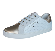 Geox J Kiwi G Girls Leather Trainers / Shoes - White and Gold