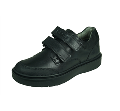 Geox J Riddock B Boys Leather School Shoes / Hook and Loop  - Black