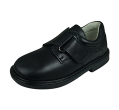 Cool Boys James Leather Primary School Shoes Hook and Loop - Black