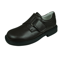 Cool Boys James Leather Primary School Shoes Hook and Loop - Brown