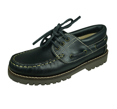 Cool Boys Jack Kids Leather Boat Shoes - Navy Blue