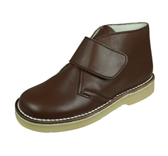 Cool Boys Josh Leather Chukka Boots Hook and Loop- Brown