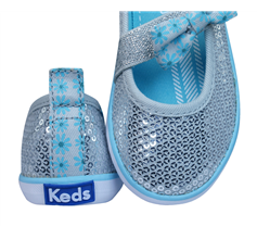 Keds Champion K MJ Girls Slip On Sequin Trainers / Shoes - Silver