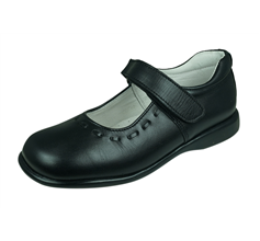 Angela Brown Lilly Girls Leather School Shoes Mary Jane - Black