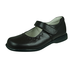 Girls Leather School Shoes Lilly by Angela Brown Mary Jane - Brown