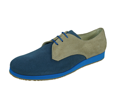 Angela Brown Luke Boys Suede Leather Brogue / Lace up Shoes - Blue and Beige