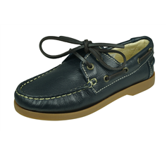 Angela Brown Max Boys Leather Boat Shoes - Navy Blue