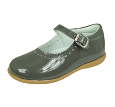 Angela Brown Mia Girls Patent Leather Mary Jane School Shoes - Grey