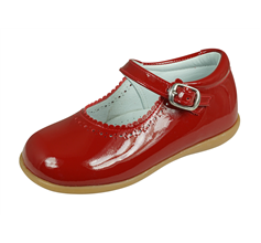 Angela Brown Mia Girls Patent Leather Mary Jane School Shoes - Red