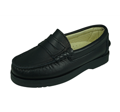 Cool Boys Oliver Leather School Shoes Slip On Loafer - Black
