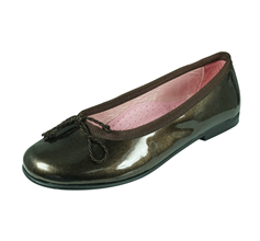 Angela Brown Olivia Girls Patent Leather Ballerina Shoes Pumps - Brown