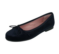 Angela Brown Olivia Girls Velvet Ballerina Shoes Pumps - Navy Blue