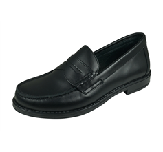 Angela Brown Paco Boys Leather Loafer Smart School Shoes - Black
