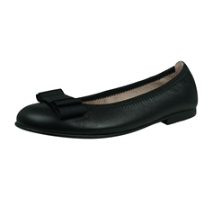 Angela Brown Payton Girls Leather Ballerina Shoes Pumps - Black