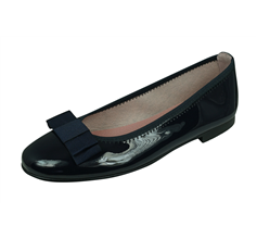 Angela Brown Payton Girls Patent Leather Ballerina Shoes Pumps - Navy Blue