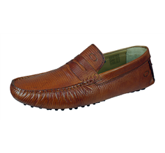 Base London Morgan Mens Slip On Snake Leather Driving Loafers / Shoes - Tan