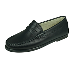 Angela Brown Riley Boys Leather Loafer Smart School Shoes - Black