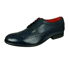 Base London Bailey Mens Grain Leather Brogue / Shoes - Blue