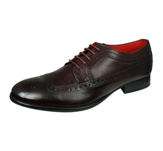 Base London Bailey Mens Grain Leather Brogue / Shoes - Burgundy