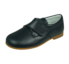 Cool Boys Sam Leather Smart Riptape Shoes - Navy Blue