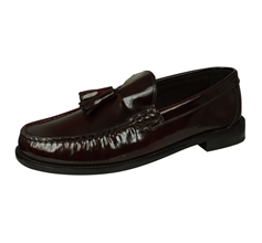 Base London Chime Mens Slip On Hi Shine Leather Loafers / Shoes - Burgundy