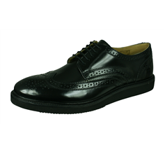 Base London Orion Mens Hi Shine Leather Brogue Shoes - Black