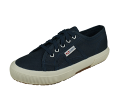 Superga 2750 JCOT Classic Kids Lace up Canvas Trainers - Navy Blue