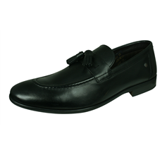 Base London Ritz Mens Slip On Leather Loafers / Shoes - Black
