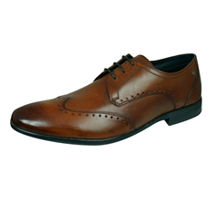 Base London Buckingham Mens Washed Leather Brogue / Shoes - Tan