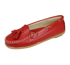 Cool Girls Tyra Leather Tassel Moccasin / Shoes - Red
