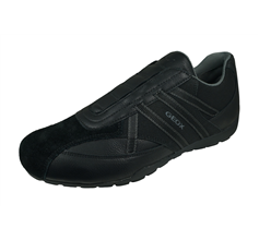 Geox U Ravex D Mens Leather Casual Trainers / Shoes - Black