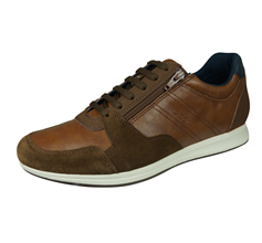Geox U Avery B Mens Leather Trainers / Sneakers - Brown