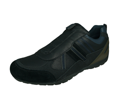 Geox U Ravex B Mens Leather Trainers / Shoes - Black and Grey