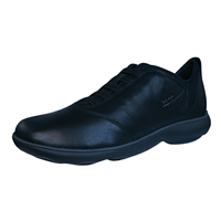 Geox U Nebula B Mens Slip On Leather Trainers / Shoes - Black